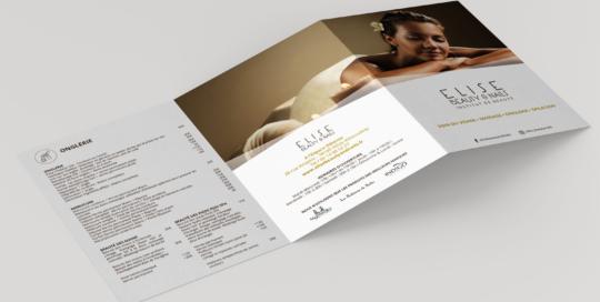 Communication Dépliant 3 volets A5 Elise Beauty & Nails Création studio locadesign 92