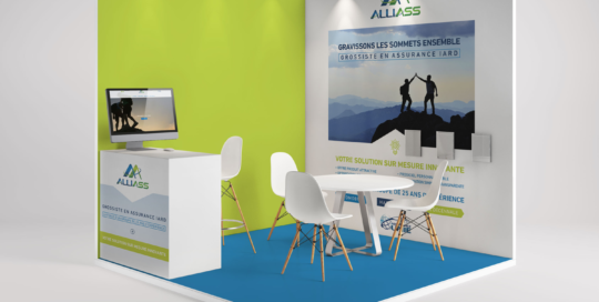 Kit communication Salon du Courtage Alliass Assurance Stand 3D Studio Locadesign 92